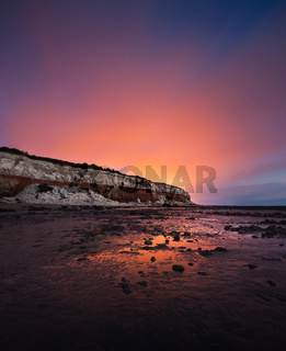 Hunstanton Cliffs in Norfolk, night time in the mist