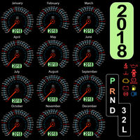 Year 2018 calendar speedometer car in concept