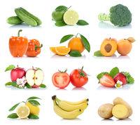 Früchte Obst und Gemüse Apfel Tomaten Orange Zitrone Farben Sammlung Freisteller freigestellt isoliert