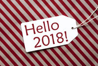 Label On Red Wrapping Paper, Text Hello 2018