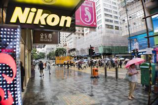 Hongkong Innenstadt in der Regenzeit mit Smog Wolke
