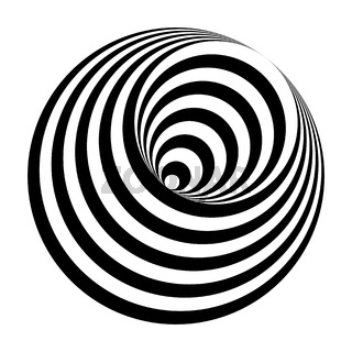 optical illusion black and white circles cone
