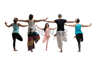 Group yoga training view against wall