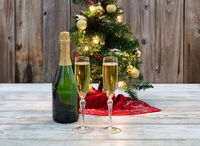 Drinking glasses filled with champagne for the winter holidays with Christmas tree decoration in background