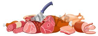 Meat banner vector. Fresh meat banner