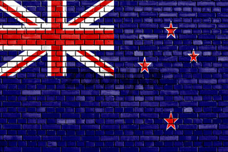 flag of New Zealand painted on brick wall