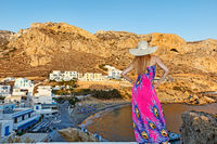 A woman at Finiki of Karpathos, Greece