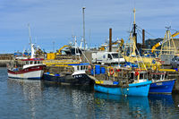 Fischtrawler im Hafen von Fraserburgh, Schottland, Grossbritannien