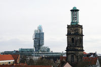 modern NordLB building and historic Aegidienkirche church tower
