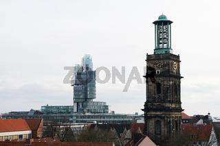 modern NordLB building and historic Aegidienkirche church tower