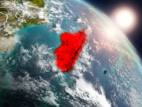 Madagascar from space during sunrise