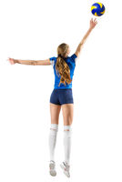 Young woman volleyball player isolated (ver with ball)