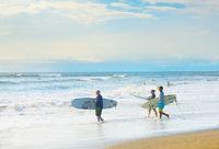 Surfers going surf, Bali island