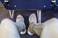 Airplane seats with more leg space for comfortable flight.