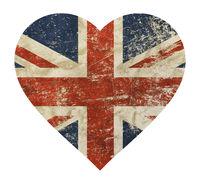 Heart shaped grunge vintage UK Great Britain flag