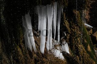 Frozen waterfall in Demirji range, Crimea
