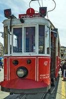 Galatasaray Tram Taksim Istiklal Street. Istanbul, Turkey
