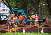 Group of workers in park. Singapore