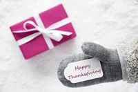 Pink Gift, Glove, Text Happy Thanksgiving