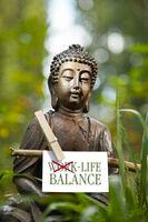 Buddha mit den Worten Life Balance