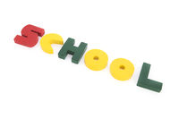 School in colorful wooden letters