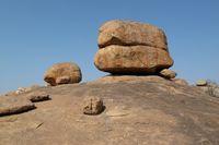 Unique shaped granite boulder in Hampi, India.