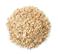 Top view of dry rolled oatmeal flakes