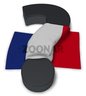 flagge von frankreich und fragezeichen - 3d illustration