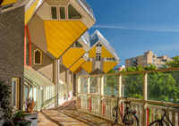 Cube houses in Rotterdam, South Holland, Netherlands.