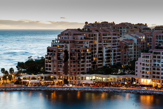 Aerial View on Illuminated Fontvieille and Monaco Harbor, French Riviera