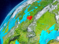 Space view of Lithuania in red