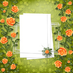 grunge paper for congratulation with painting rose