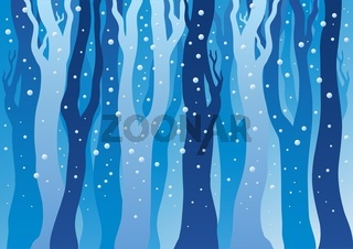 Winter forest with snow - color illustration.