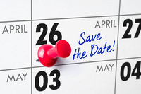Wall calendar with a red pin - April 26