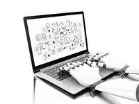 3d Robotic hands typing on a laptop with education sketch