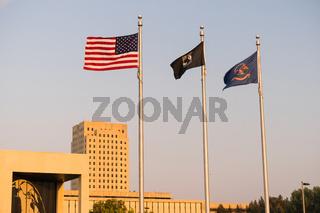 Flags Fliy North Dakota Capital Building Bismarck