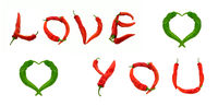 LOVE YOU text and two hearts composed of chili peppers