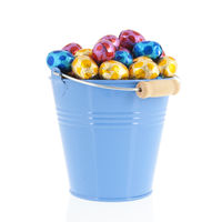 Blue bucket easter eggs