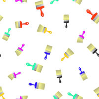 Colored Brushes Seamless Pattern on White