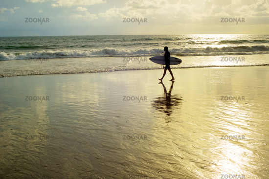 Surfer walking on the beach