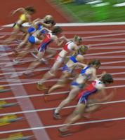 100m-Start der Frauen - Typical (verwischt)