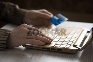 Hands with credit card and notebook horizontal