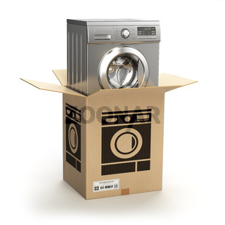 Washing machine in carton cardboard box. E-commerce, internet online shopping and delivery concept.