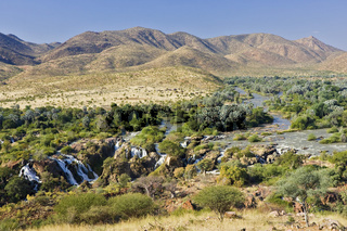 Epupa Fälle an der Grenze zu Angola, Kunene River, Kaokoveld, Namibia, Afrika, Epupa Falls, Africa