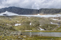 Glacier lake at Helags mountain in the Swedish wilderness