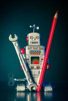 Roboter mit Werkzeug und Rotstift