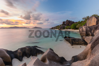 Dramatic sunset at Anse Source d'Argent beach, La Digue island, Seychelles