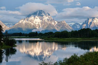 Mountains in Grand Teton National Park at morning. Oxbow Bend on the Snake River.