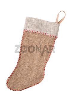 Burlap Christmas Stocking onWhite