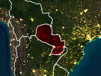 Map of Paraguay at night